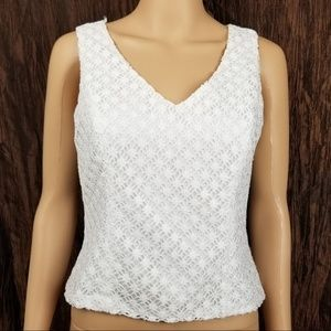 Tahari by ASL Lace Top Blouse V Neck Career Size 4